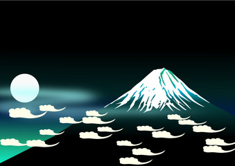 Fuji mt. in the night sky background. vector file