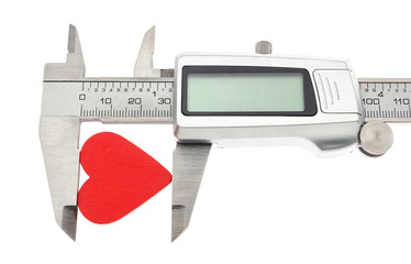 Vernier caliper measures the heart. On Valentine's Day.