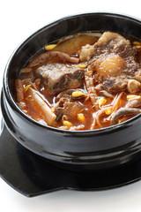 yukgaejang, spicy beef and vegetable soup, korean food