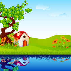 Foto op Plexiglas Rivier, meer vector illustration of home under tree in nature landscape
