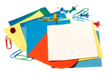 Colorful paper notes and clips