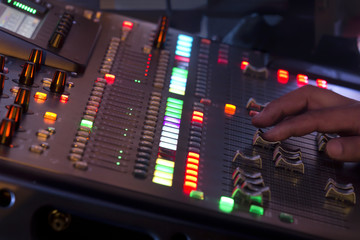 Adjust sound mixer switch in concert