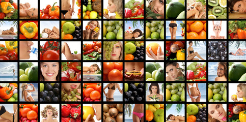 A collage images with young women and fresh fruits
