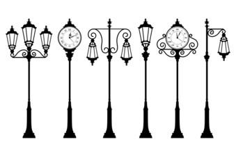 street lanterns and clock Fotomurales