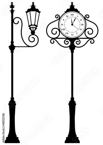 Quot Outdoor Clock And Lantern Quot Stock Image And Royalty Free