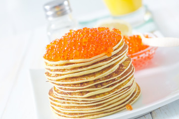 pancakes with caviar