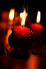 Red candles for romantic evening