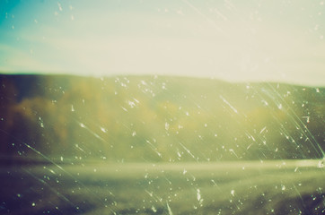 bugs on windshield at sunset - Drumheller Alberta - LOMO