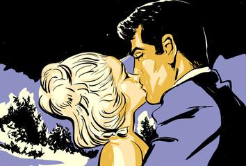 croquis jeune couple homme et femme baiser amoureux