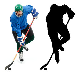 Ice hockey player and it's silhouette