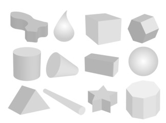 Set of Geometric Objects in Grey Colors