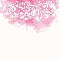 Floral background. Watercolor splatter with floral pattern.