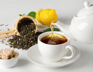 Tea cup and teapot