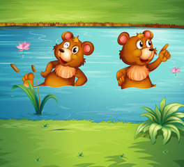 Canvas Prints Bears Two animals in the pond