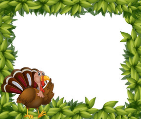 A green frame border with a turkey