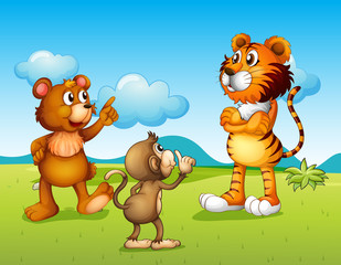 Fotobehang Beren A tiger, a monkey and a rat