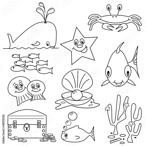 Selection Of Sea Life Clipart Cartoons For Colouring Book Stock