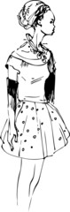 a sketch of beautiful slip of a girl is in a short dress
