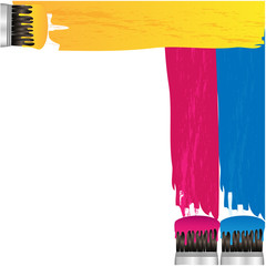 coloured stripes of paint and brush on a white background