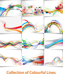 Poster Abstract wave set of abstract wave line poster with space of your text.
