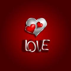 Serce Walentynki Love srebrny