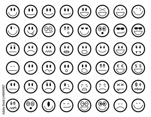 Smiley icon set stockfotos und lizenzfreie vektoren auf bild 48941987 - Image de smiley a imprimer ...