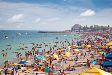 Beautiful long sand beach in Costinesti, Constanta, Romania