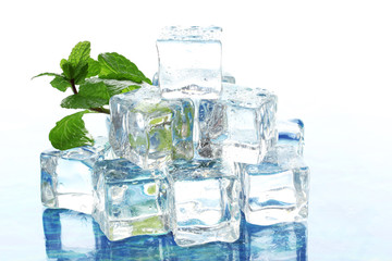 Ice with mint on light background