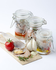 Composizione di molluschi e gamberi