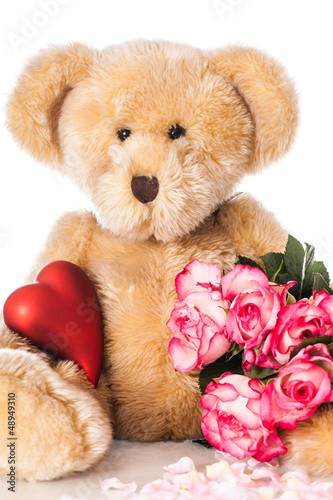 teddy with roses teddy mit rosen stockfotos und lizenzfreie bilder auf bild. Black Bedroom Furniture Sets. Home Design Ideas