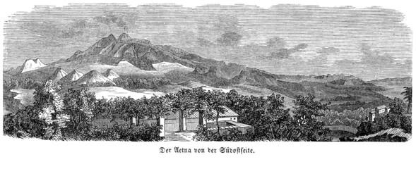 Ansicht des Ätna im 19. Jahrhundert (Alte Lithographie)