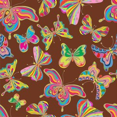 Seamless color butterfly background