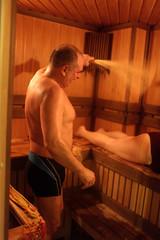 Family take a steam bath