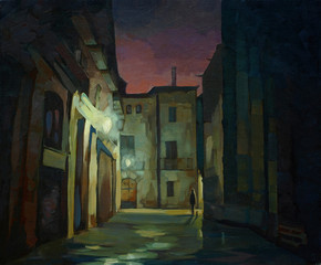 ancient gothic quarter in Barcelona at night, painting, illustra