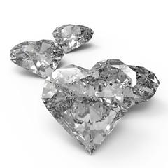 diamond heart shape on black surface