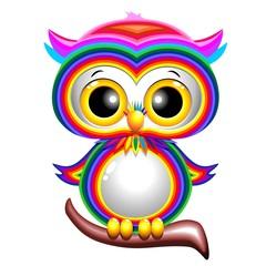 Door stickers Draw Rainbow Baby Owl Cartoon Gufo Cucciolo Arcobaleno-Vector