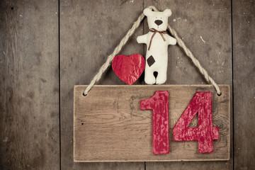 Valentine heart, handmade bear,  fourteen on wooden signboard