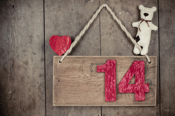Valentine heart, handmade bear,  fourteen on wooden signboard