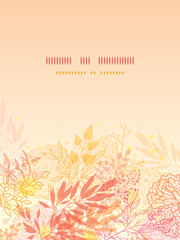 Vector glowing fall plants vertical background with hand drawn