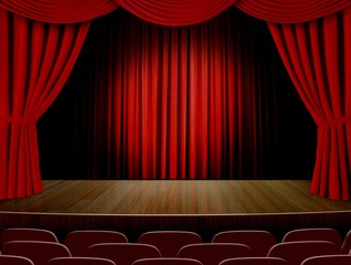 Theater curtains and red seats