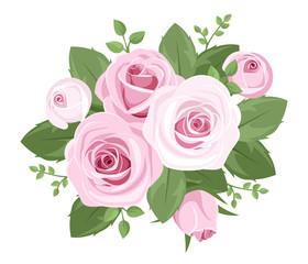 Pink roses, rosebuds and leaves. Vector illustration.