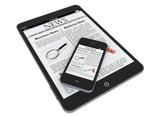 Tablet PC and mobile phone with news
