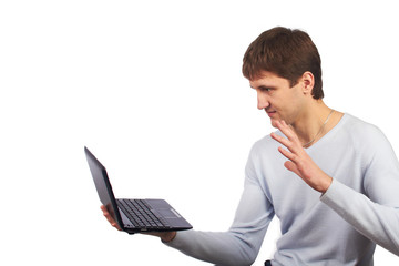 Man with laptop.