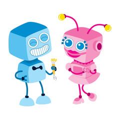 Spoed Foto op Canvas Robots Robot Love Bouquet