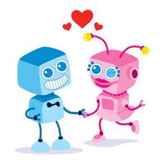 Spoed Foto op Canvas Robots Robot Love Couple