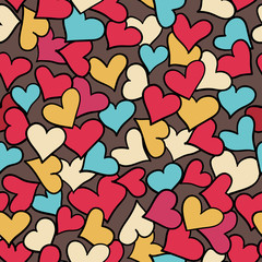 Seamless pattern of hearts.