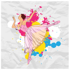 Vector illustration of ballerina on a paper-background.