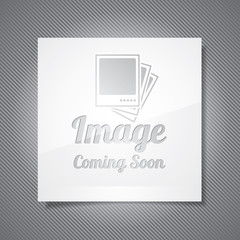 Coming Soon illustration with abstract picture frame on grey bac