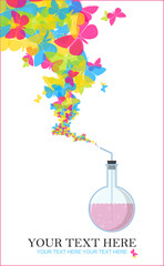 Abstract vector illustration of flask and butterflies. Place for