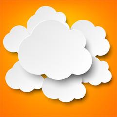 Paper white clouds on orange.